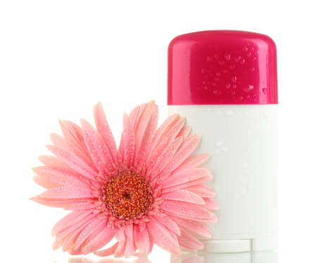 deodorant with flower isolated on white