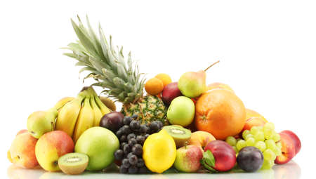 Photo pour Assortment of exotic fruits isolated on white - image libre de droit