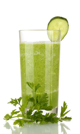 Green vegetable juice isolated on whiteの写真素材