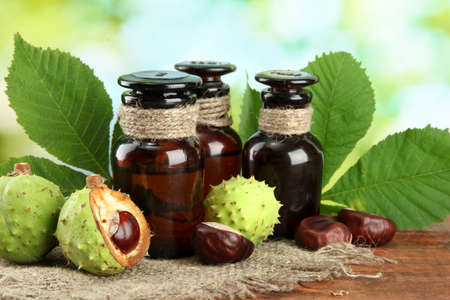 medicine bottles with chestnuts and leaves, on green background