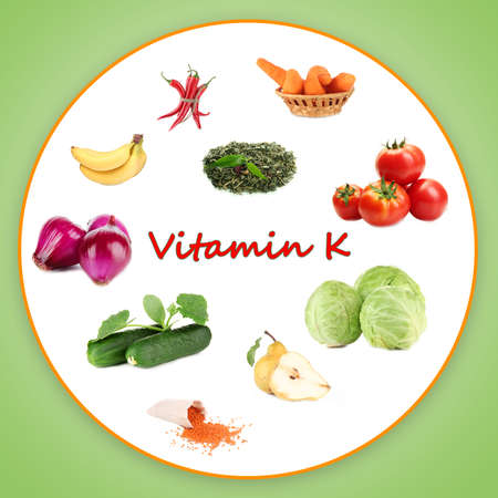 Collage of food containing vitamin K