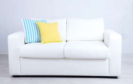 Pleasant White Sofa With Colorful Pillows In Room Royalty Free Squirreltailoven Fun Painted Chair Ideas Images Squirreltailovenorg