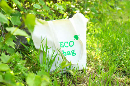Eco bag on green grass, outdoors