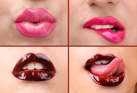 Collage of female lips