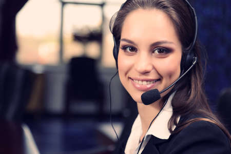 Photo for Call center female operator at work - Royalty Free Image