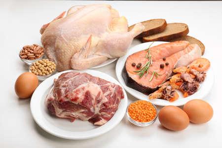 Foto de Food high in protein isolated on white - Imagen libre de derechos