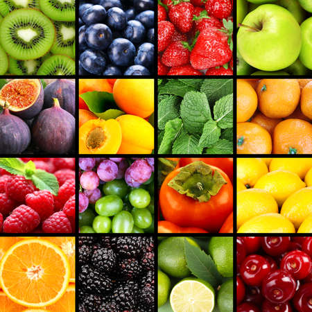 Fruits and berries in colorful collage