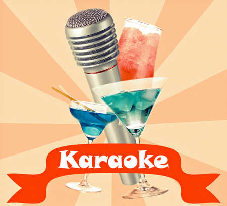 Silver microphone and cocktails on color retro background, Karaoke concept