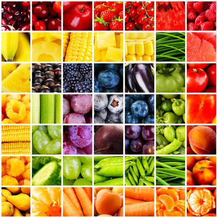 Collage with tasty fruits and vegetablesの写真素材