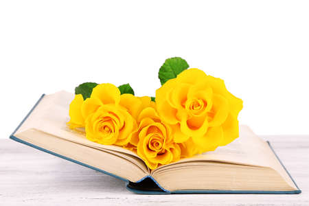 Yellow roses with open book on wooden table isolated on white