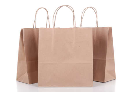 Photo for Paper shopping bags isolated on white - Royalty Free Image
