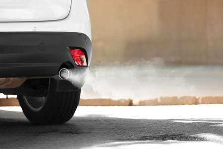 Photo for Exhaust pipe with smoke emission. Air pollution concept. - Royalty Free Image
