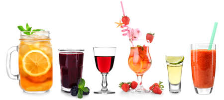 Delicious cocktails on white background