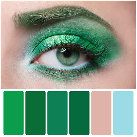Color palette and beautiful woman with fancy green makeup, closeup