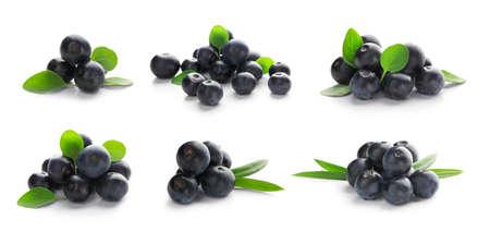 Photo pour Collage of acai berries on white background - image libre de droit