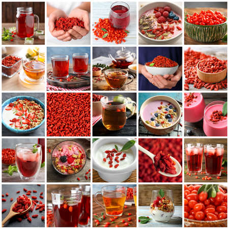 Collage with different food and drinks of goji berries