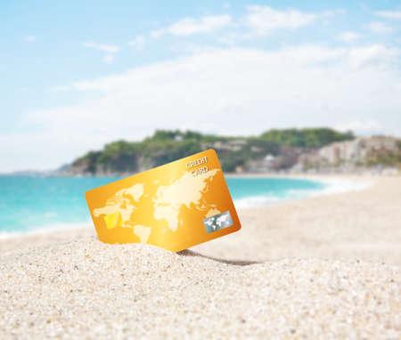 Foto de Credit card on tropical beach - Imagen libre de derechos