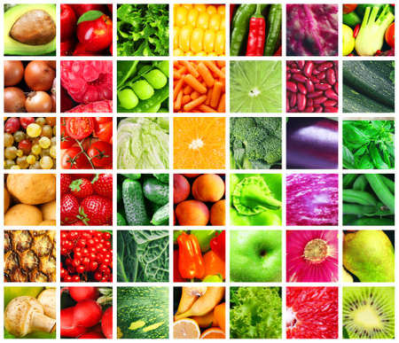 Collage of vegetables, berries and fruits as backgroundの写真素材