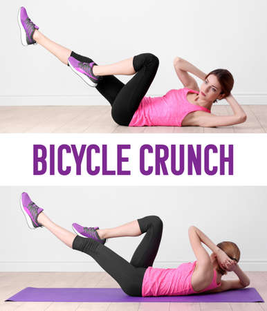 Young woman doing bicycle crunch on light wall background