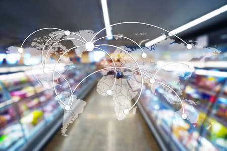 Photo pour World map with logistic network and supermarket on background - image libre de droit