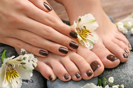 Photo pour Manicured female feet and hand with flowers on spa stones closeup - image libre de droit