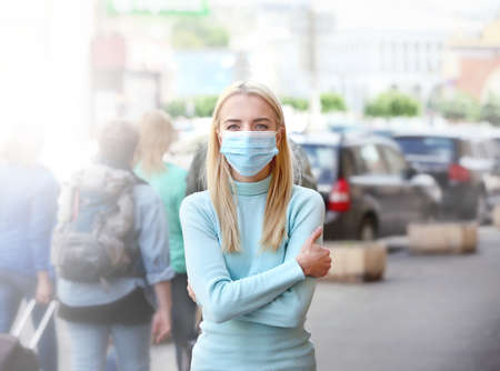 Photo for Woman in protective mask outdoors - Royalty Free Image