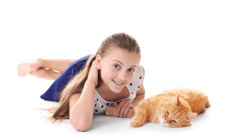 Beautiful Girl With Cute Cat Isolated On White Royalty Free Images Photos And Pictures