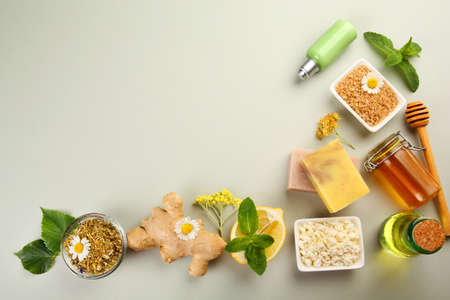 Natural Ingredients For Skin Care On Light Background Royalty Free Images Photos And Pictures
