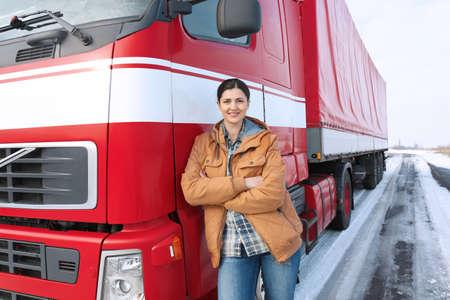 Photo pour Female driver near big modern truck outdoors - image libre de droit