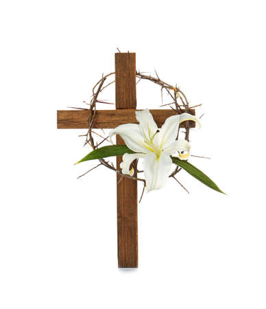 Photo for Cross, crown of thorns and Easter white lily on white background - Royalty Free Image