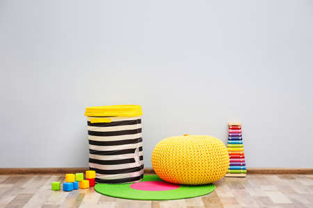 Photo for Children's room with light wall, interior details - Royalty Free Image