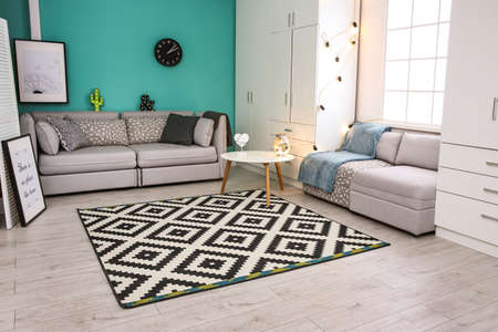 Modern living room interior with stylish sofas and carpet