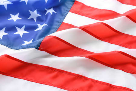 American flag as background, closeup. National symbol