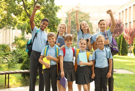 Foto de Group of children in stylish school uniform outdoors - Imagen libre de derechos