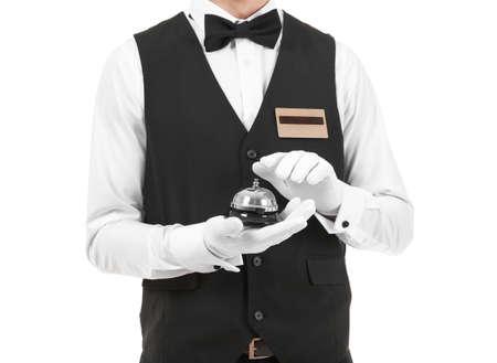 Photo pour Handsome bellboy on white background, closeup - image libre de droit