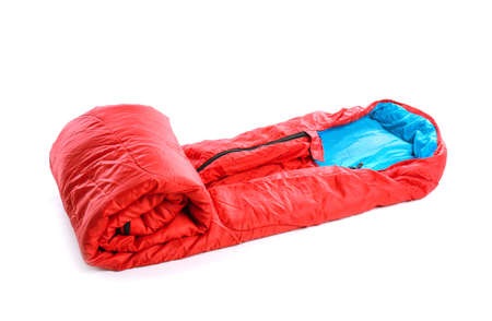 Photo pour Sleeping bag on white background. Camping equipment - image libre de droit