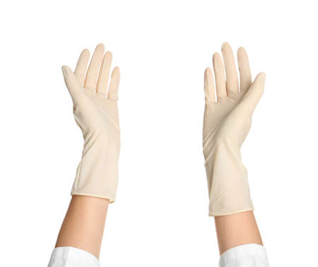 Doctor in medical gloves on white background