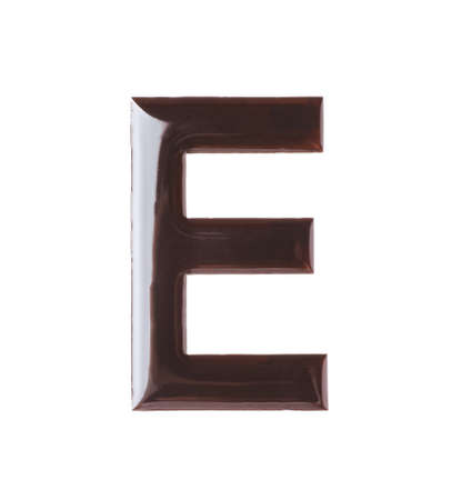 Letter E made of chocolate on white backgroundの写真素材