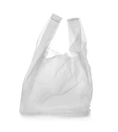 Photo for Clear disposable plastic bag on white background - Royalty Free Image