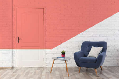 Photo for Stylish room interior. Idea for renovation and design with living coral color - Royalty Free Image