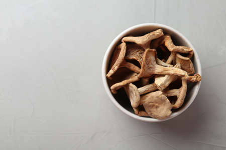 Bowl of dried mushrooms on color background, top view. Space for text