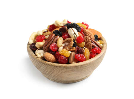 Photo for Bowl with different dried fruits and nuts on white background - Royalty Free Image