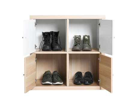 Modern light wooden cabinet with shoes isolated on white. Furniture for wardrobe room