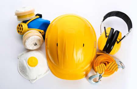 Photo pour Set of safety equipment on white background, top view - image libre de droit
