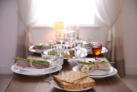 Photo for Festive Passover table setting at home. Pesach celebration - Royalty Free Image