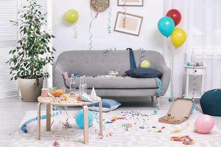 Messy living room interior. After party chaos
