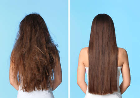 Photo for Woman before and after hair treatment on color background - Royalty Free Image
