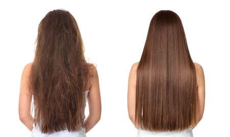 Foto de Woman before and after hair treatment on white background - Imagen libre de derechos