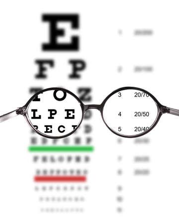 Photo pour Clear view of eye chart through glasses. Ophthalmologist consultation - image libre de droit