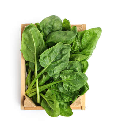 Photo for Crate with fresh spinach leaves isolated on white, top view - Royalty Free Image